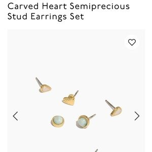 Madewell Carved Heart Semiprecious Stud Earrings S